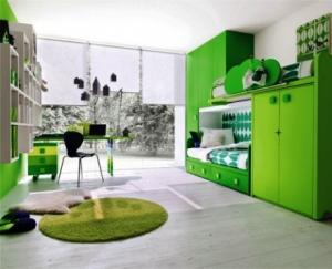 Thiết kế phòng trẻ với tông mầu xanh lá
