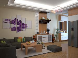 Nội thất phòng khách và bếp chung cư Dream Town (nhà chị Huyền)