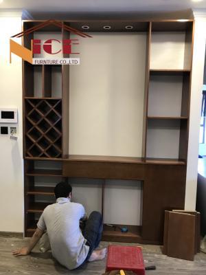 Vách ngăn tủ trang trí phòng khách VTT6751